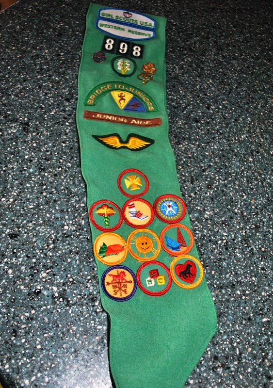 The front of my Girl Scout sash