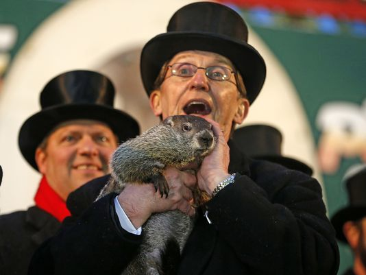 Punxsutawney Phil is held by Ron Ploucha after emerging from his burrow Sunday on Gobblers Knob in Punxsutawney, Pa., to see his shadow and forecast six more weeks of winter weather. (Photo: Gene J. Puskar, AP)
