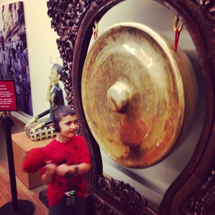 My son banging a gong