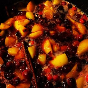 Aunt Joyce's Spiced Peaches and Cranberries