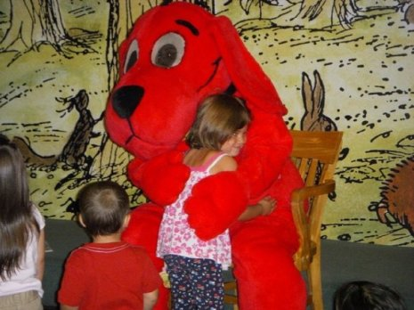 My daughter gets a big hug from Clifford at story time at a local Barnes and Noble several years ago.